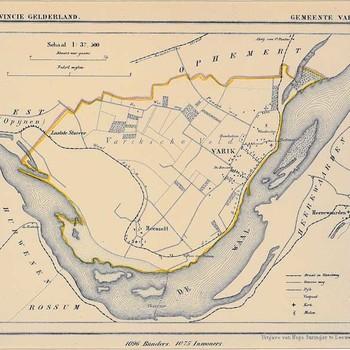 Lithografie, voorstellende een kaart van de gemeente Varik, uitgegeven door Hugo Suringar te Leeuwarden, 1867