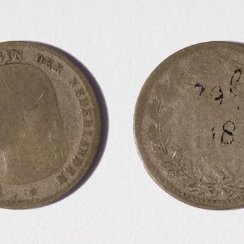 Munt van zilver, portret van Wilhelmina met hangend haar