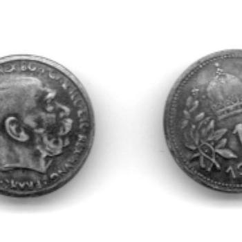 Knoop, 2 stuks van zilver, gemaakt van 2 munten met beeltenis van Frans Joseph van Oostenrijk, 1903
