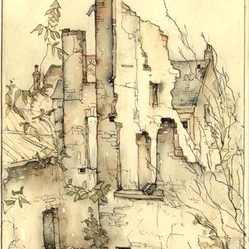 Aquarel, voorstellende de Koornmarkt te Tiel, na de verwoesting in de Tweede Wereldoorlog, vervaardigd door Lies Veenhoven, 1945