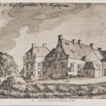 Reproductieprent, voorstellende Kerk en Huis Lichtenvoorde, vervaardigd door Emrik & Binger drukker te Haarlem en uitgegeven door Gouda Quint te Arnhem 1922