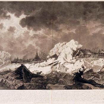 Gravure, voorstellende de dijkbreuk bij Vuren op 22-2-1799, vervaardigd door J. Cats te Amsterdam, uitgegeven door C. Josi te Amsterdam, 1802