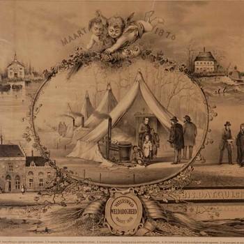 Lithografie, voorstellende vijf taferelen van de hulpverlening bij de watersnood in 1876 in Herwijnen, Brakel, Poederoyen, vervaardigd door Jan Kuypers, 1876