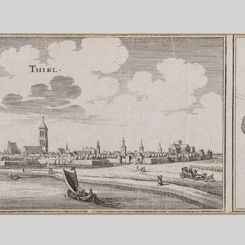 Kopergravure, voorstellende twee afbeeldingen; links riviergezicht op Tiel; rechts plattegrond van Tiel, vervaardigd door C. Merian, 1659