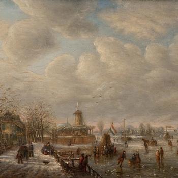 Schilderij, olieverf op paneel, voorstellende een gezicht op Tiel, vanaf de Ophemertsedijk bij winter, vervaardigd door G. Naber, 1859,  werktitel