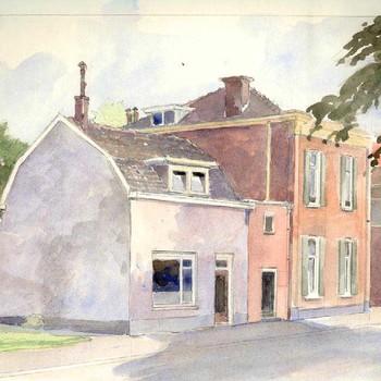 Aquarel, voorstellende huizen aan de Achterweg  te Tiel, vervaardigd door Willem van den Anker te Tiel, 1980-1985