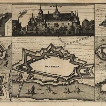 Gravure, voorstellende een kaart van de vestingsteden IJsseloord, Tiel, Elburg,  Arnhem, Wageningen, Schencken Schans en Harderwijk