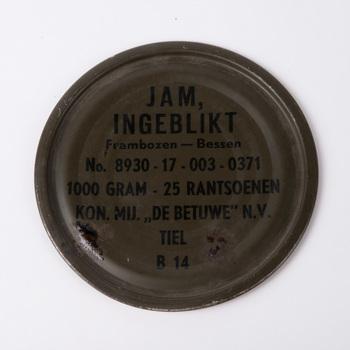 Deksel van een blik jam, rantsoen, 1952-1960