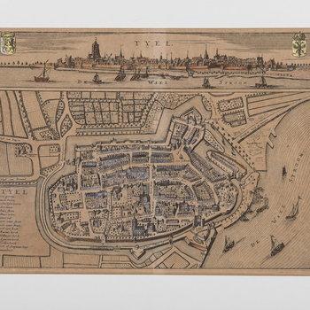 Gravure, voorstellende plattegrond en een  profiel van de stad Tiel