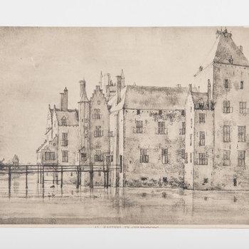 Reproductieprent met voorstelling van het kasteel te Culemborg, gelichtdrukt door van Emrik en Binger te Haarlem en uitgegeven door S. Gouda Quint te Arnhem, 1922