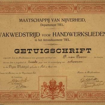 Getuigschrift van de Maatschappij van Nijverheid, departement Tiel, uitgereikt aan D. van Doorn te Tiel, 1906; ontworpen door Boekdrukkerij D. Mijs te Tiel en gedrukt bij P.J. Campagne te Tiel
