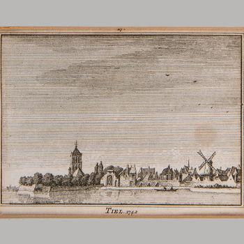 Gravure, voorstellende gezicht op Tiel vanaf de Waal, 1742,  werktitel