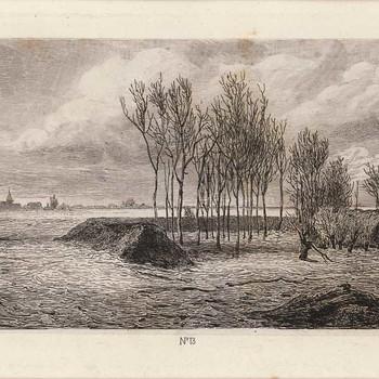 Ets, voorstellende doorgebroken Grebbedijk gezien richting Opheusden, vervaardigd door J.W. Kaiser te Amsterdam, naar een tekening van C. Immerzeel, 1855