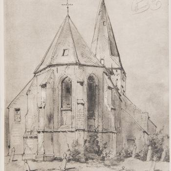 Reproductieprent, voorstellende kerk te Drempt vervaardigd door Emrik & Binger drukker te Haarlem en uitgegeven door Gouda Quint teArnhem 1922