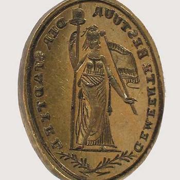 Lakzegelstempel met afbeelding van de vrijheidsmaagd en randschrift Gemeentebestuur der stad Tiel, 1795-1813