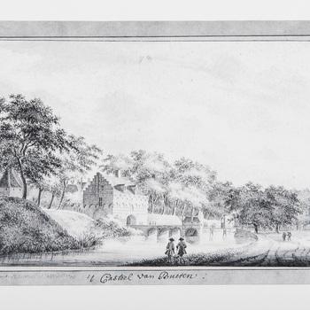Foto van het kasteel van Buren naar een prent uit 1767