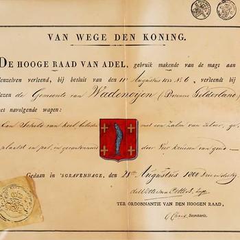 Reproductieprent, voorstellende bekendmaking bij het verlenen van het Gemeentewapen aan Wadenoijen door de Hoge Raad van Adel in 1833