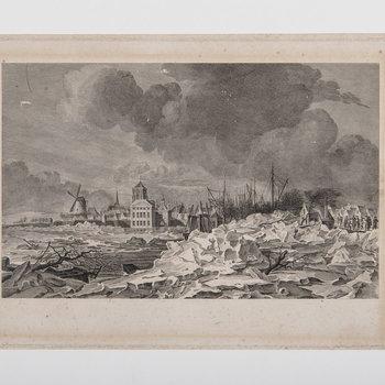 Gravure, voorstellend kruiend ijs voor de stad Tiel, 1799