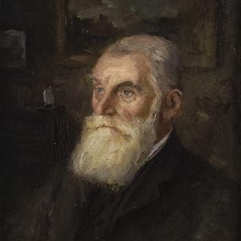 Schilderij, olieverf op paneel, met voorstelling van Theodorus Johannus Stout, vervaardigd door H.C. van Mourik te Tiel, 1919