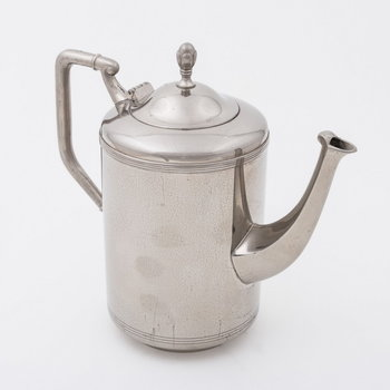 Koffie- en theeservies van vernikkeld metaal, vervaardigd door Metaalwarenfabriek Daalderop te Tiel, ca. 1929