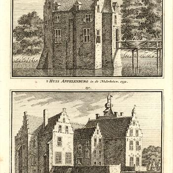 Kopergravure, voorstellende Huis Appelenburg in de Neder-Betuwe en Kasteel te Loinen in de Over-Betuwe, vervaardigd door Cornelis Pronk te Amsterdam, 1732