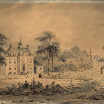 Tekening, voorstellende Huize Teisterbant te Kerk- Avezaath, vervaardigd door C.C.A. Last te Den Haag, 1835