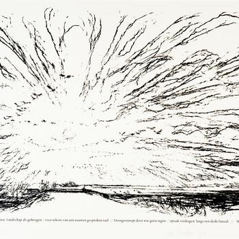 Lithografie, voorstellende rivierenlandschap met expressieve luchtpartij, vervaardigd door Willem den Ouden te Varik, 1990