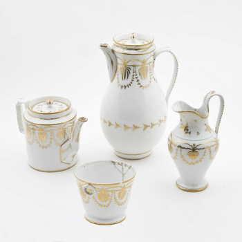 Koffie- en theeservies van porselein, 4-delig, 1800-1850