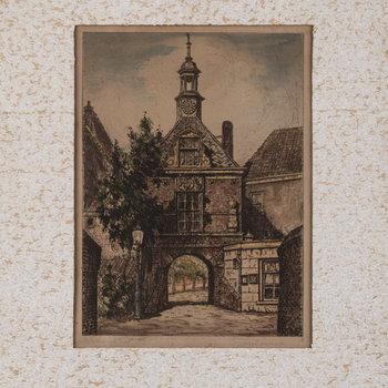 Ets, voorstellende de Waterpoort te Tiel vanaf de Waalzijde, vervaardigd door Joh. Ponsioen te Tiel, 1920-1940