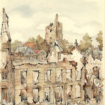 Aquarel, voorstellende een pand aan de Agnietenstraat te Tiel, na de verwoesting in de Tweede Wereldoorlog, vervaardigd door Lies Veenhoven, 1945