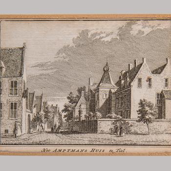 Gravure, voorstellende het  Ambtmanshuis en de Ambtmanstraat te Tiel,  werktitel