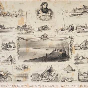 Lithografie, voorstellende 24 afbeeldingen van de overstroming in het Land van Maas en Waal in 1861, vervaardigd door C.C. Last te 's-Gravenhage, 1861