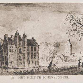 Reproductieprent, voorstellende het huis te Scherpenzeel, vervaardigd door Emrik & Binger drukker te Haarlem en uitgegeven door Gouda Quint te Arnhem 1922