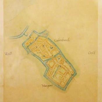 Lithografie van een plattegrond van Culemborg, vervaardigd door J. Smulders & Co. te Den Haag, ca. 1900,  werktitel