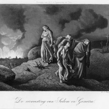 Gravure voorstellende de verwoesting van Sodom en Gomorra, vervaardigd door D.J. Sluyter te Amsterdam en uitgegeven door H.C.A. Campagne te Tiel, 1840-1885