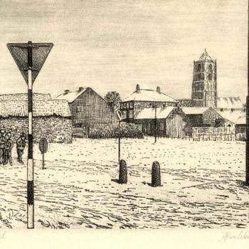 Ets, voorstellende het Bleekveld te Tiel, in de winter, met St. Maartenskerk, vervaardigd door H.J. Bakker te Tiel, 1981