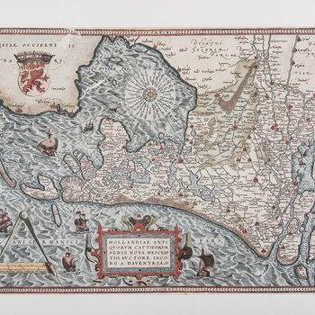 Reproductieprent, voorstellende kaart van de Nederlanden, naar een kaart van Jacob van Deventer