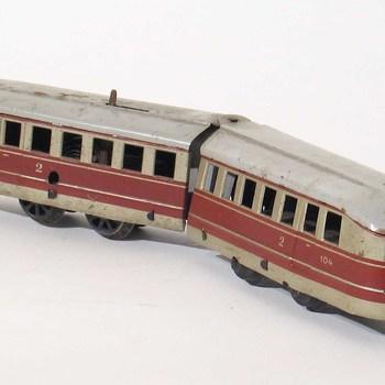 Wagon van trein; 2-delig, 4 stuks rails