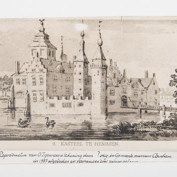 Reproductie, voorstellende kasteel te Hemmen, vervaardigd door Emrik & Binger te Haarlem, 1922