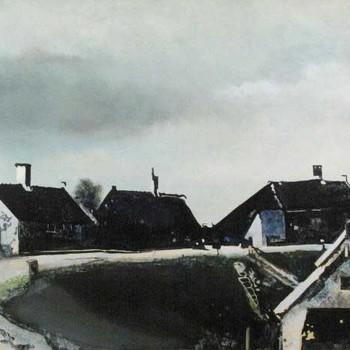 Schilderij, olieverf op papier, voorstellende de dijk te Herwijnen, vervaardigd door Bert van Mourik, 1992