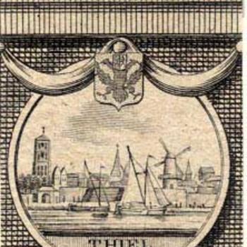 Kopergravure, voorstellende gezicht op Tiel vanaf de Waal,ca.1795