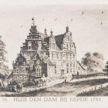 Reproductieprent, voorstellende  Huis den Dam bij Eeefde, vervaardigd door Emrik & Binger drukker te Haarlem en uitgegeven door Gouda Quint teArnhem 1922