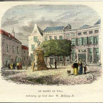 Houtgravure, ingekleurd,  voorstellende de Markt te Tiel, vervaardigd door W. Hekking jr. te Amsterdam, 1825-1904