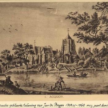 Reproductieprent, voorstellende Acquoy gezien vanaf de overzijde van de Linge, naar een tekening van Jan de Beijer vervaardigd door Emrik & Binger te Haarlem, 1922