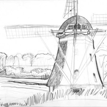 Tekening, voorstellende een molen en eendeel van kasteel Waardenburg, vervaardigd door Jos van Wunnik te Tiel, 1980-1985