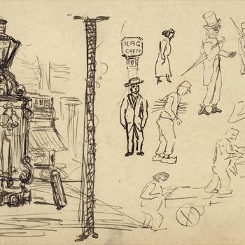 Tekening, voorstellende de pomp op de Groenmarkt te Tiel, vervaardigd door Moos Cohen, 1916-1917