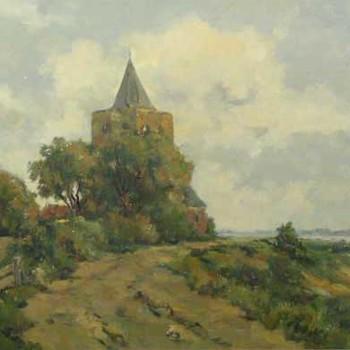 Schilderij, olieverf op doek, voorstellende  gezicht op de toren van Varik, vervaardigd door H.J. van den Ende, ca. 1975,  werktitel