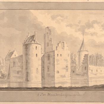 Het achteraanzicht van kasteel Waardenburg