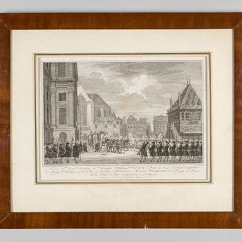 Aankomst van Willem V en Wilhelmina van Pruisen bij het Stadhuis op de Dam in Amsterdam