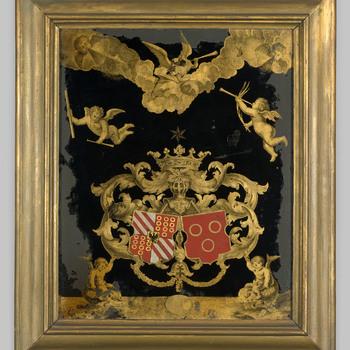 Achterglasschildering met de wapens van de familie Van Spaen en Van Riebeeck